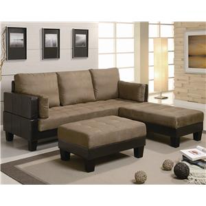 Coaster Ellesmere Contemporary Sofa Bed Group with 2 Ottomans