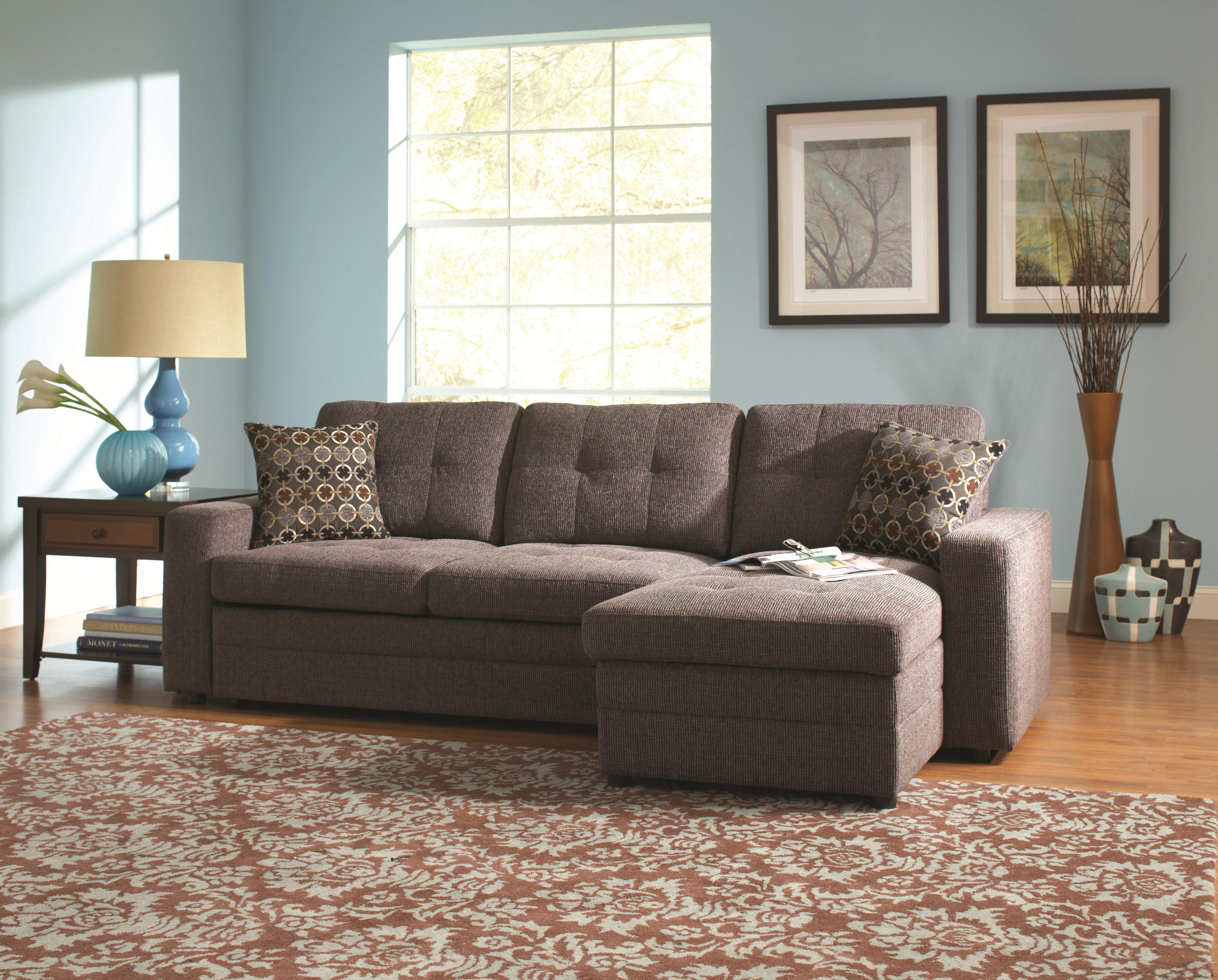 Coaster Gus Sectional Sofa with Tufts Storage and Pull Out Bed