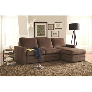 Coaster Gus Sectional Sofa with Tufts, Storage, and Pull Out Bed
