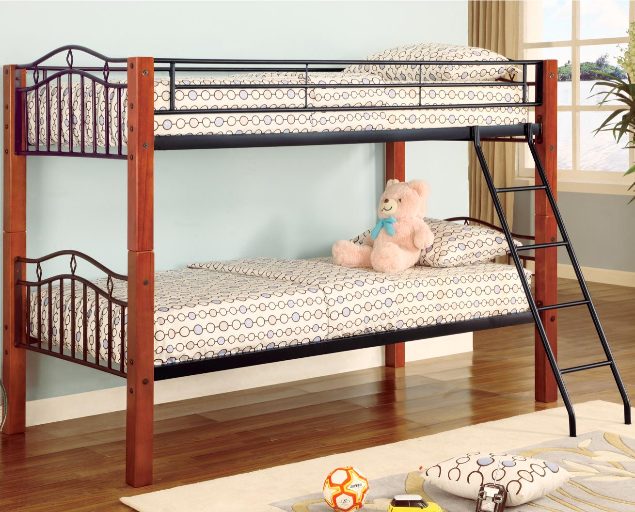 Coaster Haskell Metal And Wood Casual Twin Over Bunk Bed A1 Furniture Mattress Beds