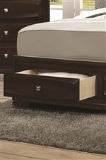 Bed Includes Two Storage Drawers in Footboard