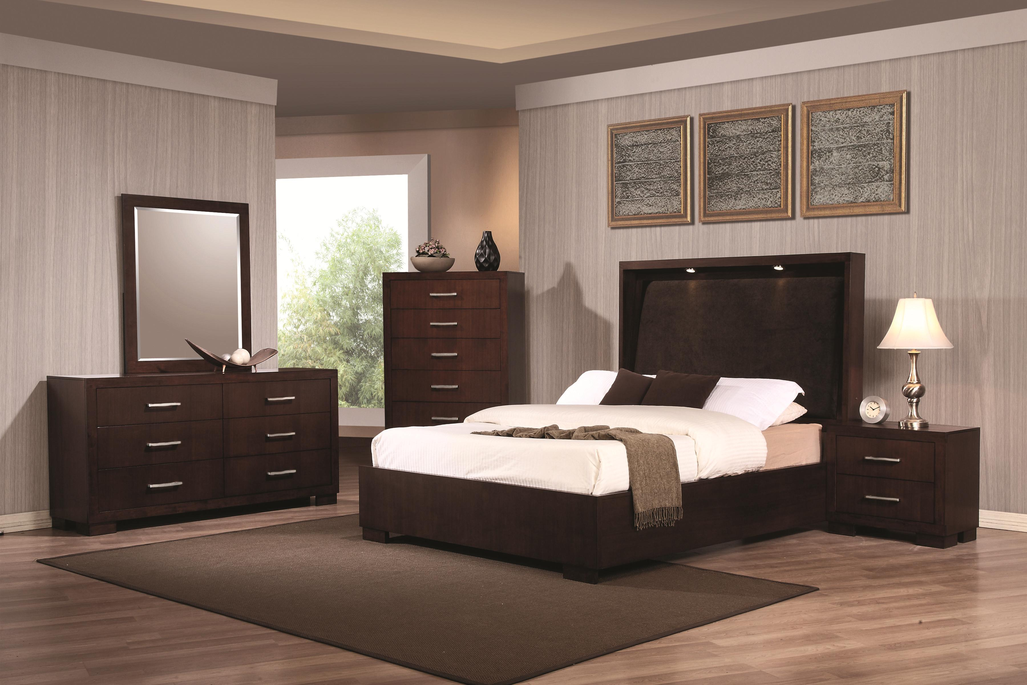 Built in bedroom cabinets modern with photo of built in collection at - Coaster Jessica California King Contemporary Bed With Storage Headboard And Built In Lighting Michael S Furniture Warehouse Bookcase Beds