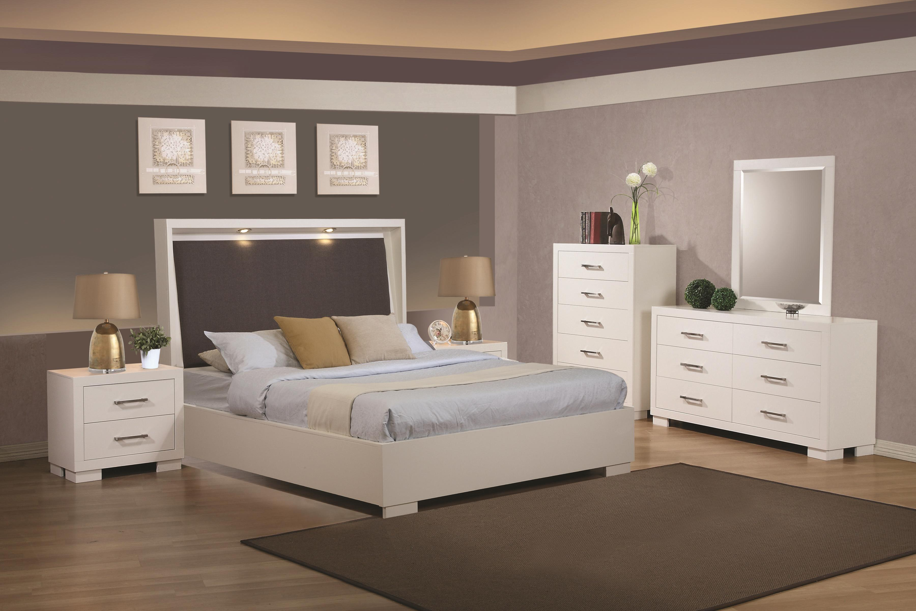 coaster jessica queen pier platform bed with rail seating and