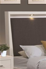 Adjustable Dimming LED Lights On Padded Headboard