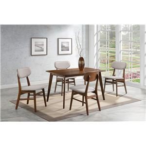 Coaster Kersey 5 Piece Dining Set with Angled Legs