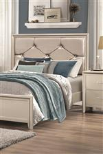 Tufted Upholstered Headboard with Metallic Leatherette