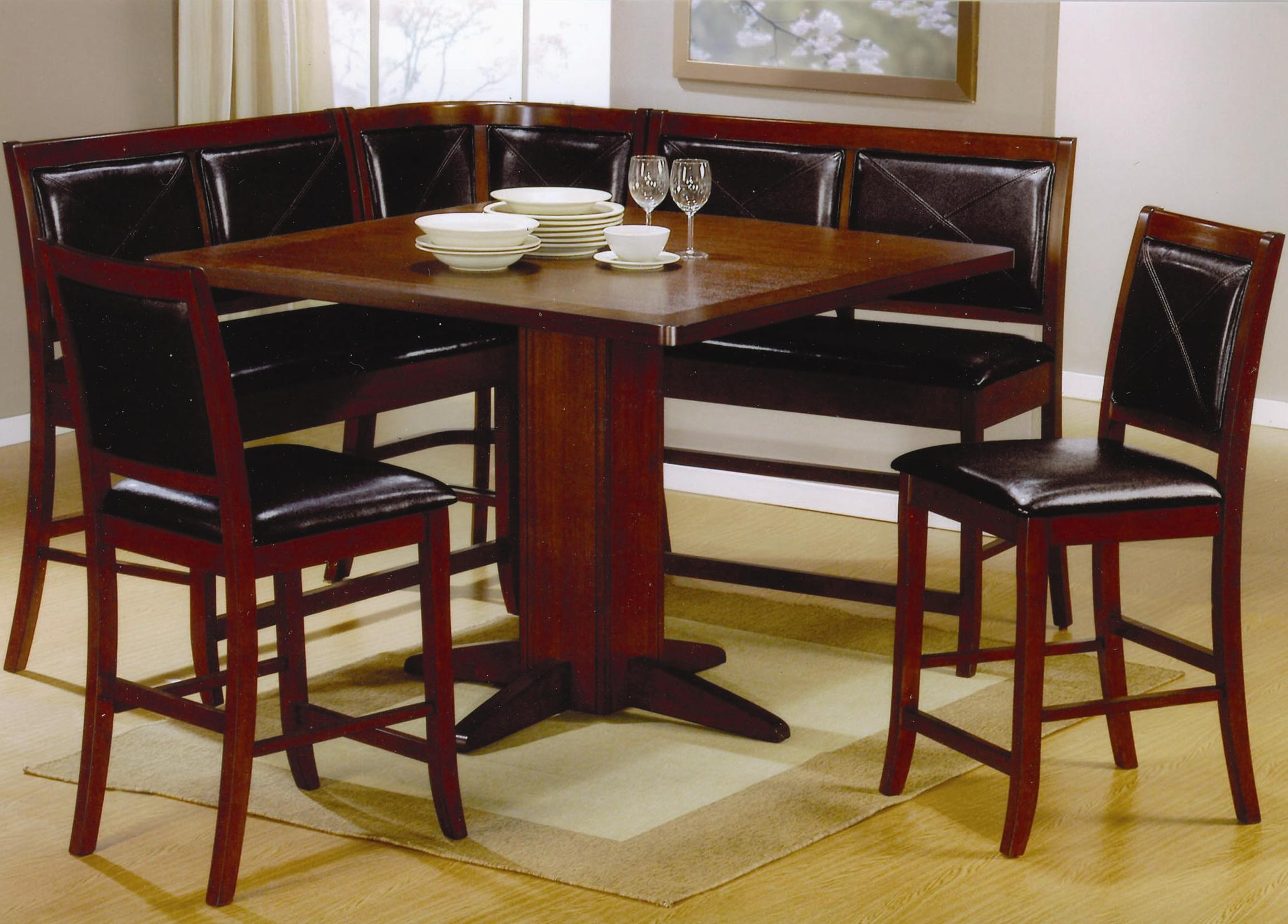 Table Bench Seat Coaster Lancaster Counter Height Dining With Faux Leather