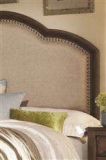 White Colored Upholstered Headboard with Nail Head Trim