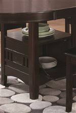 The Storage Unit Under the Table is Perfect for Storing Extra Dishes