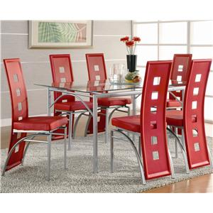 Coaster Los Feliz Contemporary Metal Dinner Table and Red Upholstered Chairs
