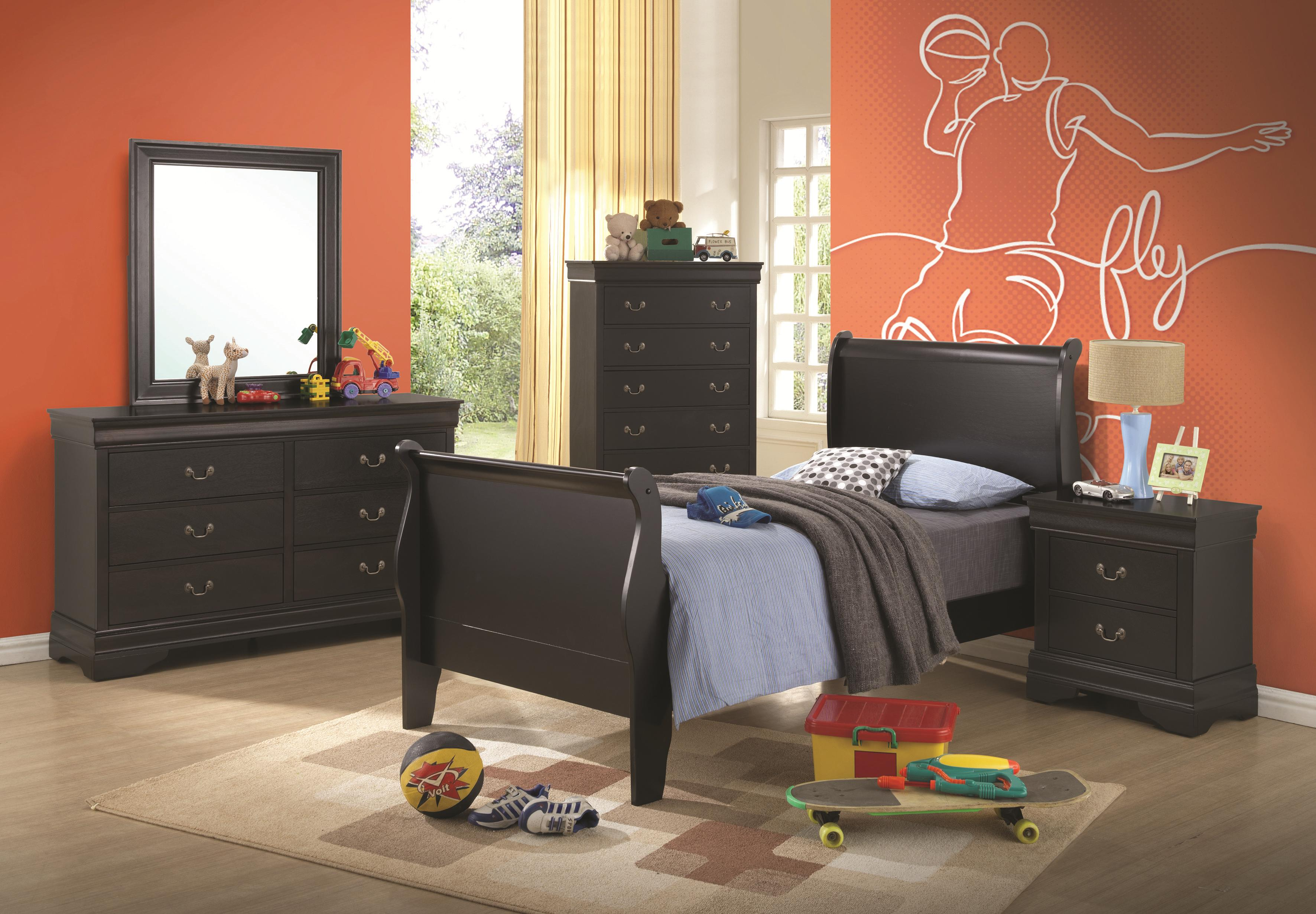 Coaster Louis Philippe 203961Q Queen Sleigh Bed | Northeast Factory Direct  | Sleigh Beds Cleveland, Eastlake, Westlake, Mentor, Medina, Ohio