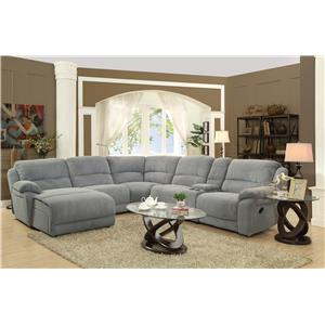 Coaster Mackenzie Silver 6-Piece Reclining Sectional Sofa with Casual Style
