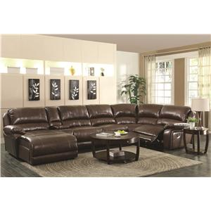 Coaster Mackenzie Chestnut 6-Piece Reclining Sectional Sofa with Casual Style