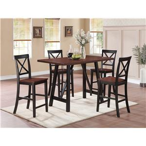 Coaster Makelim Two-Tone Counter Height Table with Angled Legs
