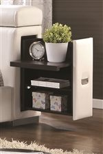 Pull-Out Nightstand with Extra Storage Located in the Side of Headboard