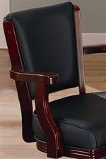 Upholstered Seat and Seat Back with Curved Wooden Arms