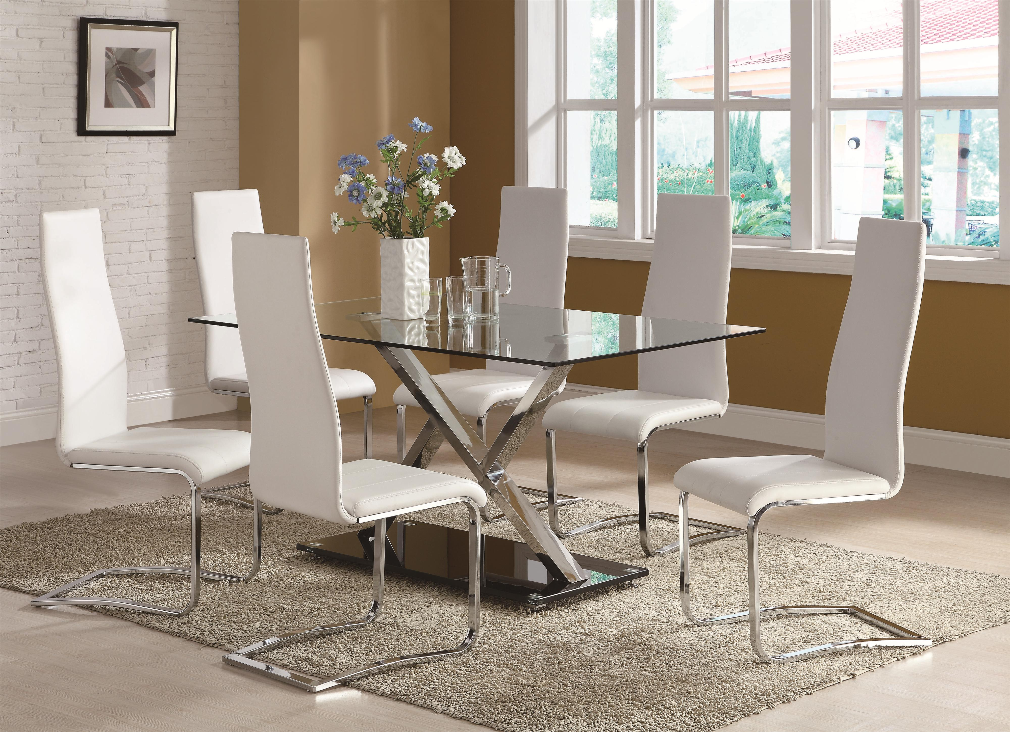 Modern Dining Table Set. Coaster Modern Dining 7 Piece White Table \u0026  Black Upholstered