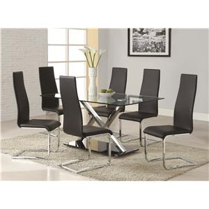 Coaster Modern Dining 7 Piece White Table & Black Upholstered Chairs Set