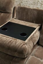 Motion Sofa Features a Drop-Down Console with Two Cup Holders