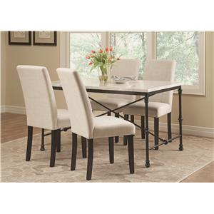 Coaster Nagel Five Piece Dining Set with Mix-and-Match Rustic Metal Chairs