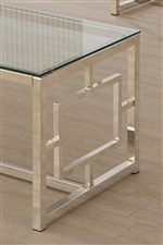 Metal Frame in Satin Finish with Geometric Side Detail. Glass Tops.