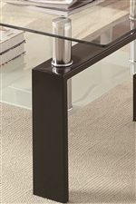 High Gloss Metal Legs and Floating Table Top