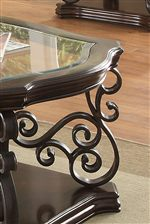 Insert Tempered Glass Tops and Ornate Metal Scrollwork