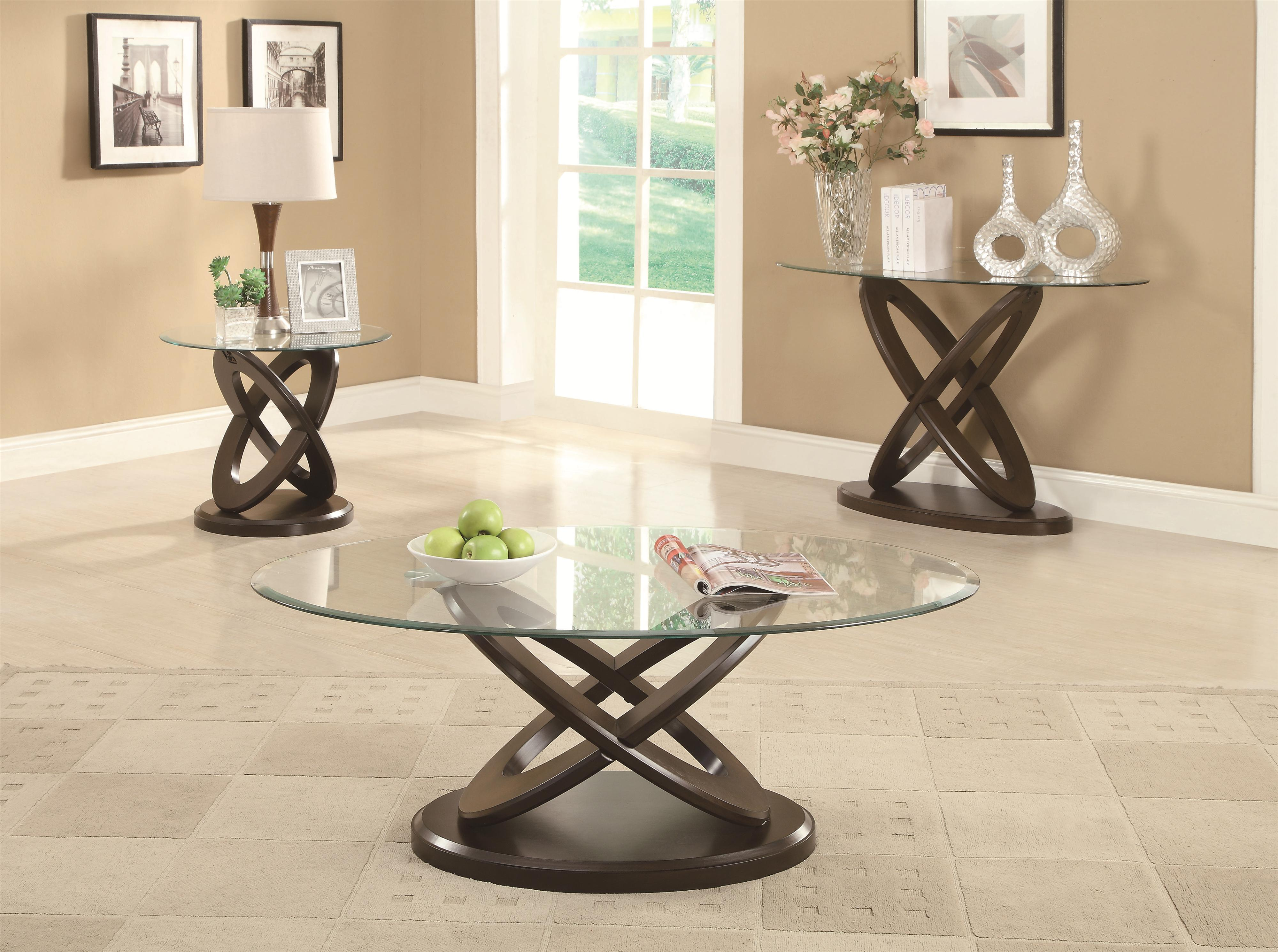 Glass Top Intersecting Ring Coffee Table - Occasional Group by ...