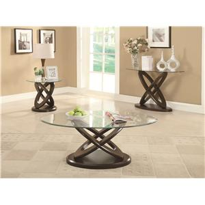 Coaster Occasional Group Glass Top Intersecting Ring End Table