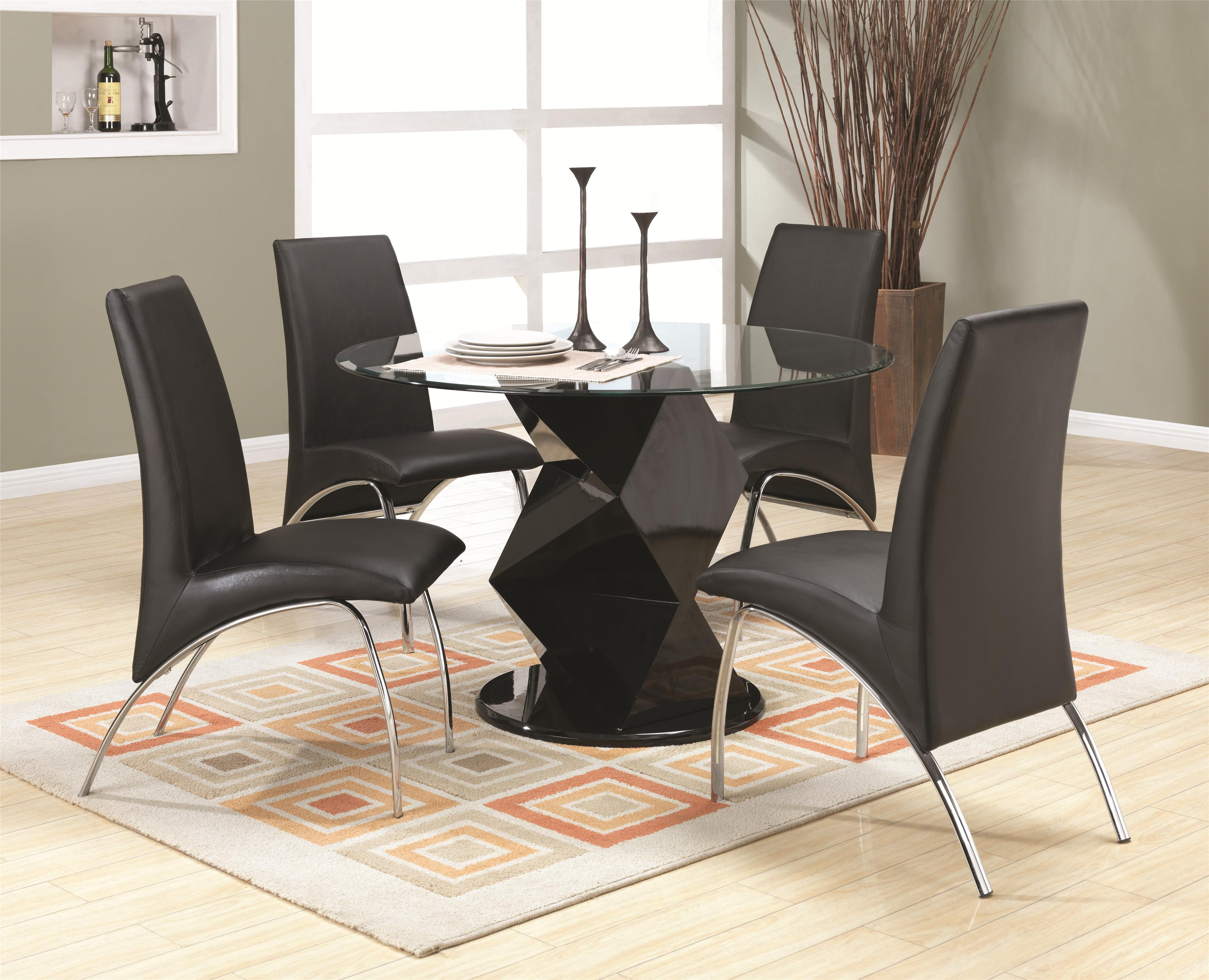 Coaster Ophelia Contemporary Five Piece Dining Set With Round Glass Top  Table   Michaelu0027s Furniture Warehouse   Dining 5 Piece Sets