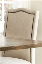 High Back Chair with Simple Curved Crest and Soft Fabric with Nailhead Trim Detailing