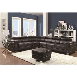 Coaster Ralston Contemporary Sectional Sofa with Metal Legs and Adjustable Headrests
