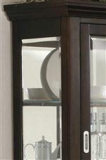 Corner of Hutch with Sliding Glass Door Handle