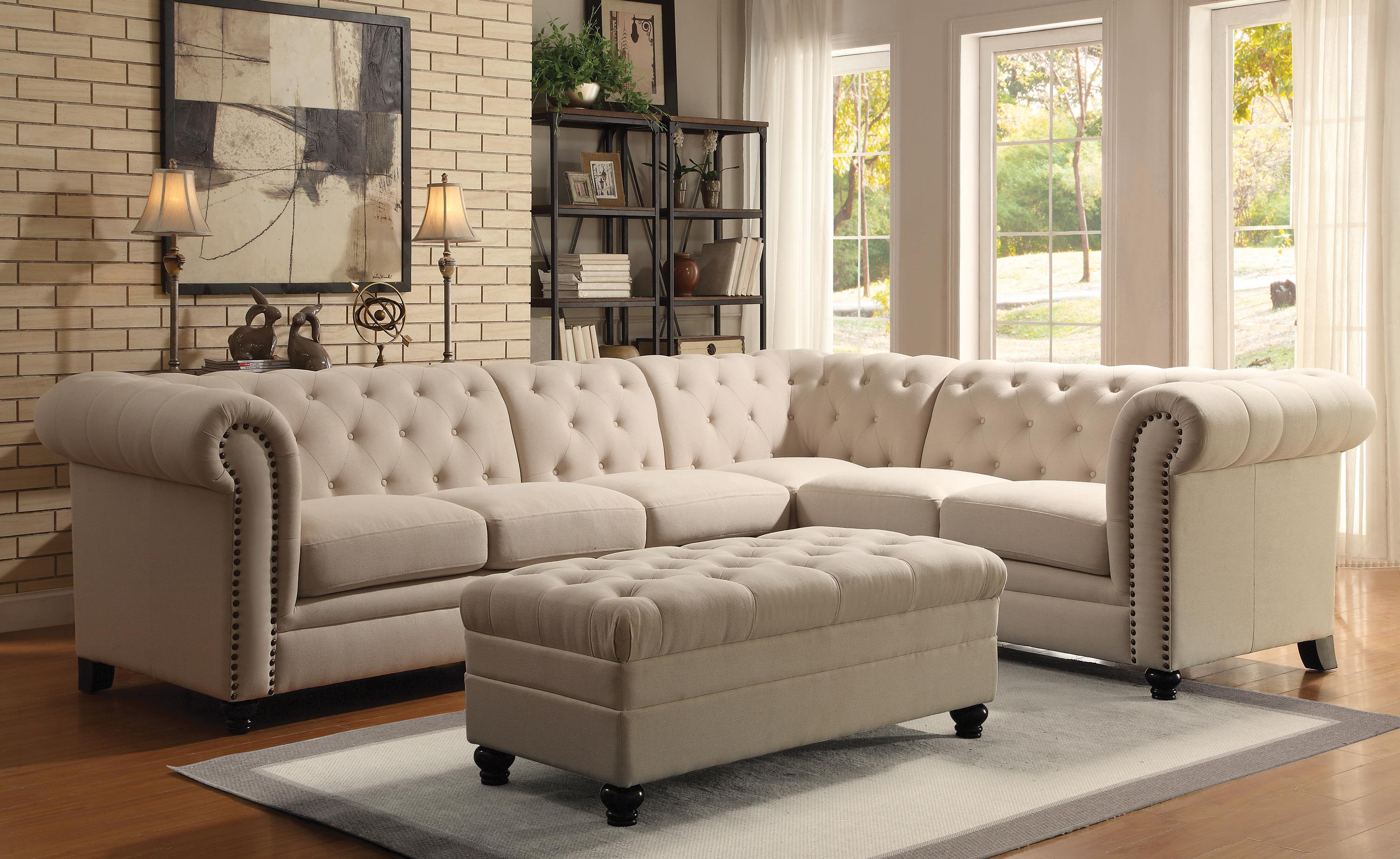 Coaster Roy Button Tufted Sectional Sofa with Armless Chair