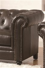 Button-Tufted Back and Nailhead Trim