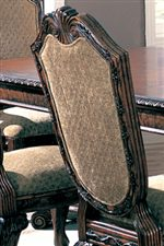 Upholstered Seat Back is Framed in Crafted Ash Burl Veneers