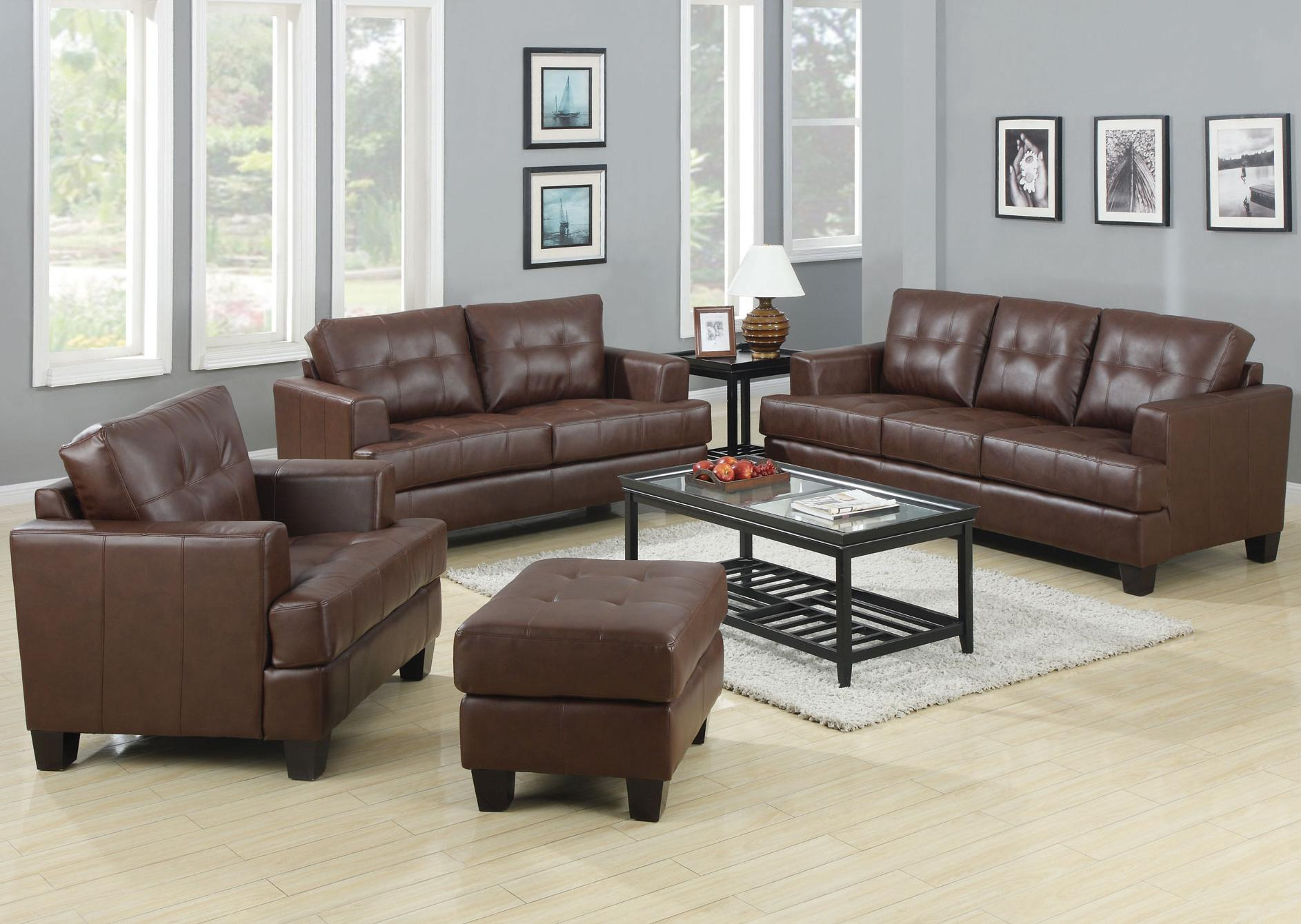 Coaster Samuel Stationary Living Room Group - Item Number: Dark Brown Living Room Group 2