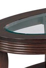 Beveled Glass Top Complements the Cappuccino Finish