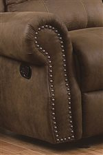 Rolled Panel Arms with Nailhead Detail Create a Sophisticated, Traditional Feel