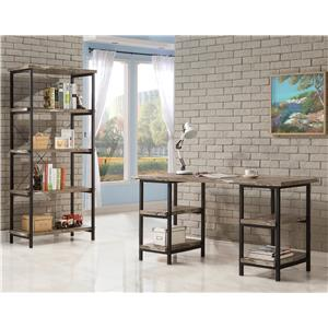 Coaster Skelton Modern Rustic Writing Desk with Metal Frame and Distressed Finish Top & Shelves
