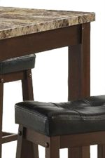 Brown Marble Look Tabletop and Plush Black Upholstered Stool Seats