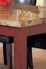 Smooth Marble Top Above Sleek Square Wooden Legs