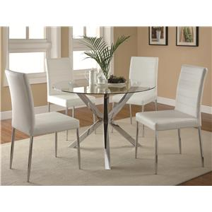 Coaster Vance Contemporary 5-Piece Glass Top Table and Chair Set