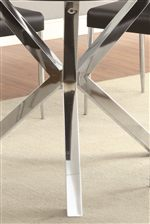 Uniquely Shaped Chrome Table Base