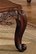 Elegant Scroll Leg with Leaf Carving