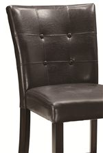 Faux Leather Upholstered Chairs with Cross Stitch and Button Details