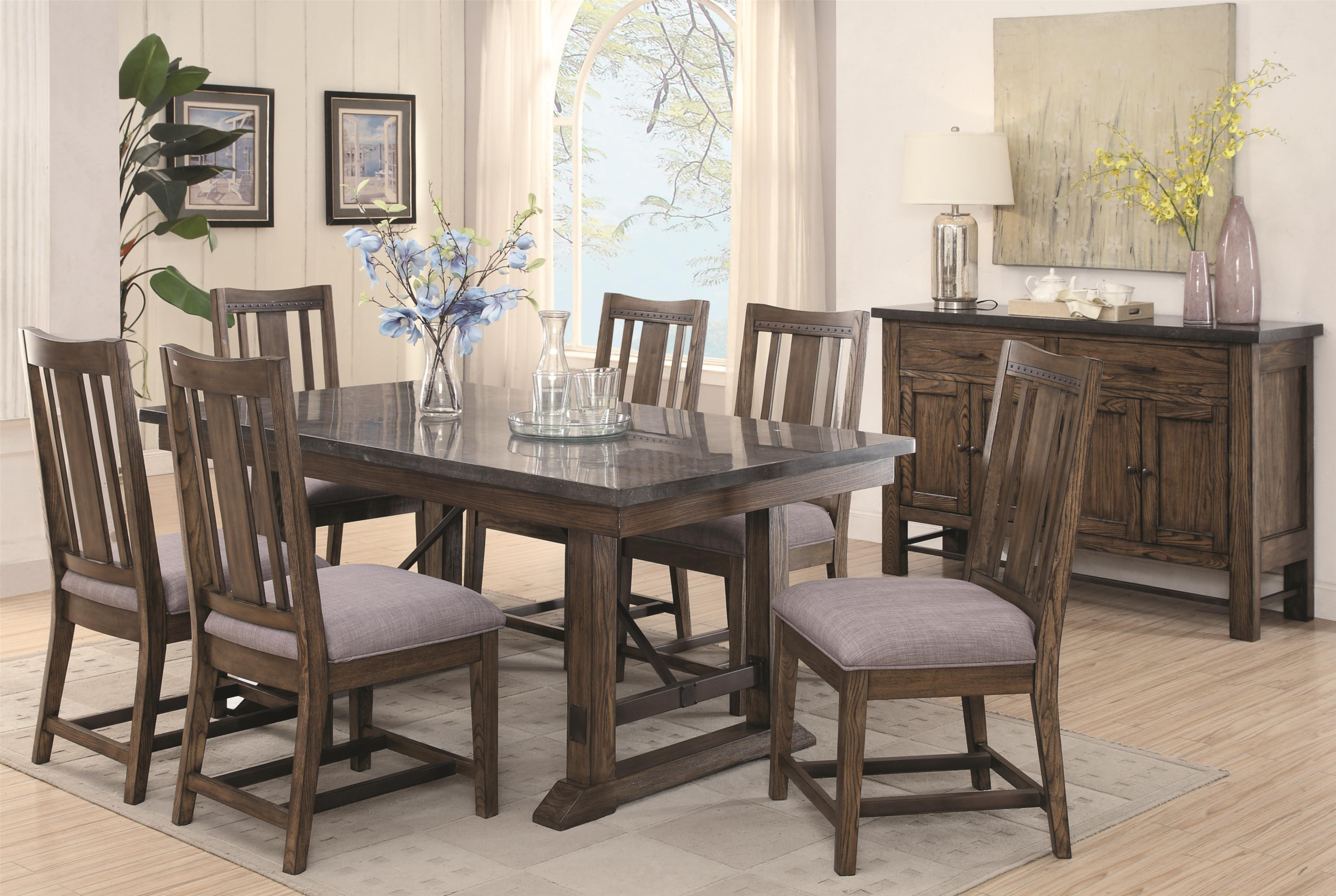 Rustic dining table set - Coaster Willowbrook Seven Piece Rustic Dining Set With Bluestone Table And Solid Wood Chairs Dunk Bright Furniture Dining 7 Or More Piece Sets