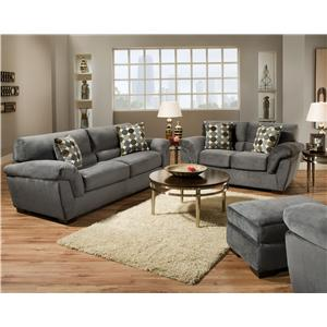 Corinthian 3850  Casual Styled Stationary Sofa Sleeper with Overstuffed Padding