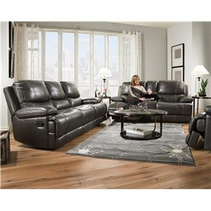Corinthian 42801 Brooklyn Charcoal Leather Reclining Sofa