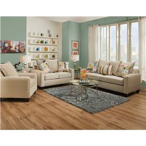 Corinthian 49B0 Casual Love Seat with Dark Wood Block Feet